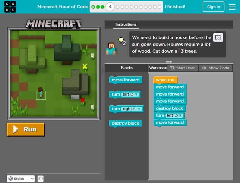 Code.org Minecraft Hour of Code
