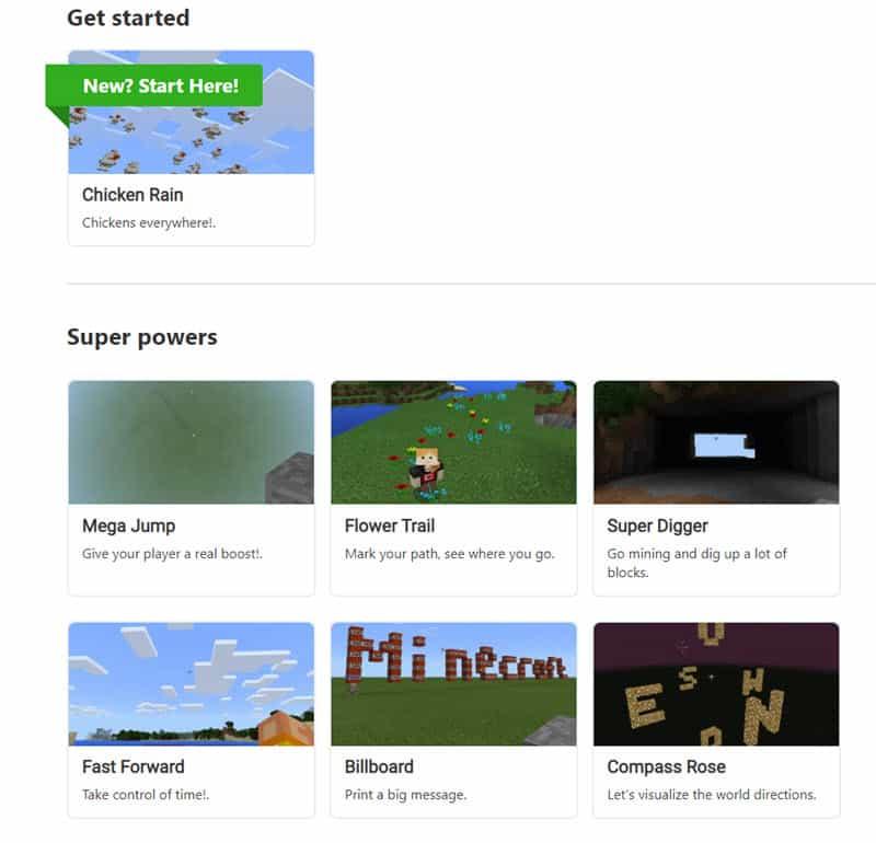 Libary of MakeCode Minecraft tutorial