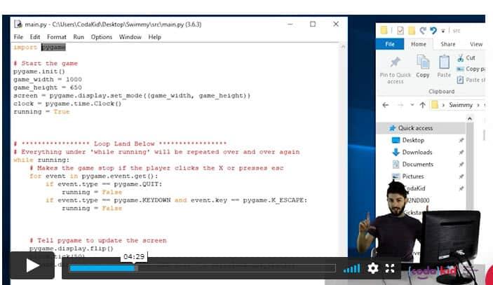 Screenshot of Codakid Game Programming video lesson