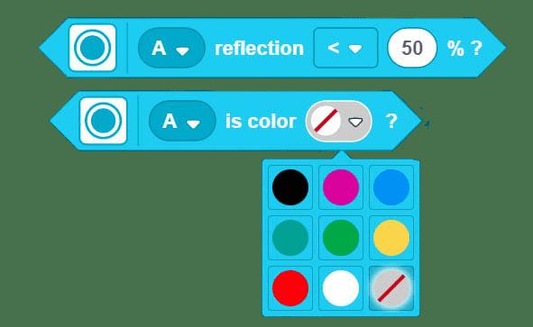 Scratch Blocks for Light and Color Sensor