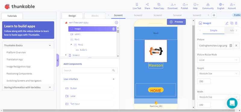 Thunkable design screen