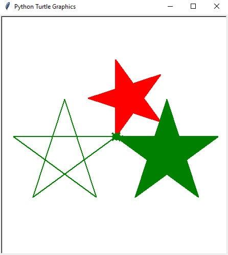 Python Turtle example 1: Draw 3 stars